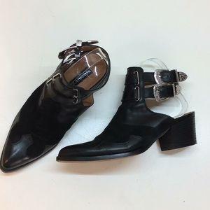 TopShop Black Cowboy Shoes Double Straps Open Back